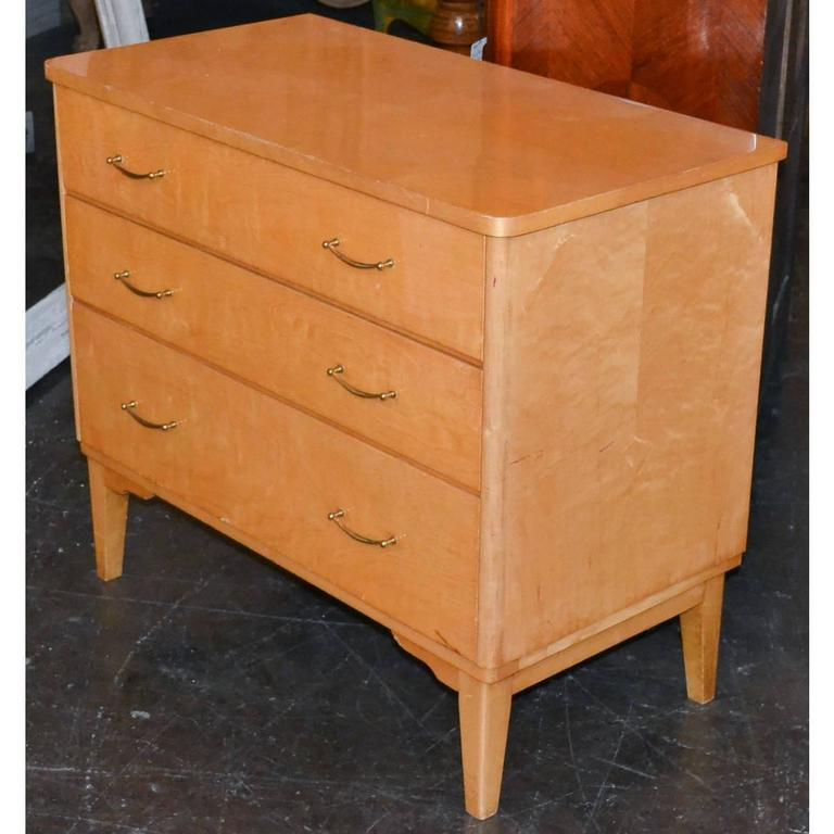 French Mid-Century Burled Maple Chest For Sale 1
