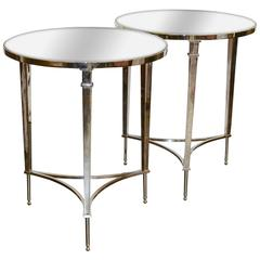 Excellent Pair of Chrome and Mirror Side Tables