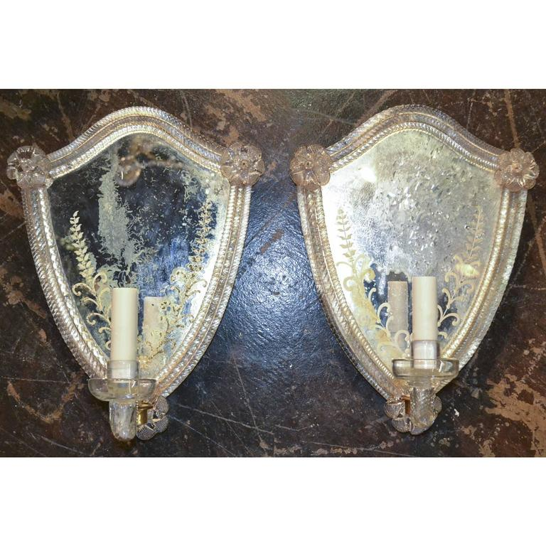 Pair of Venetian One Arm Etched Mirror Sconces For Sale 1