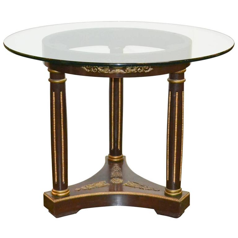 Empire style mahogany occasional table with glass top for for Glass top occasional tables