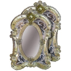 1920s Pair of Gorgeous Venetian Vanity Mirrors on Stands