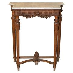 19th Century Louis XVI Limewood Console with Carrara Marble Top