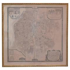 French Vintage Map of Paris 1940s in Giltwood Frame