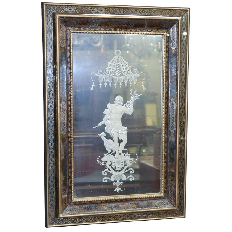 Early 20th Century Venetian Etched Glass Mirror For