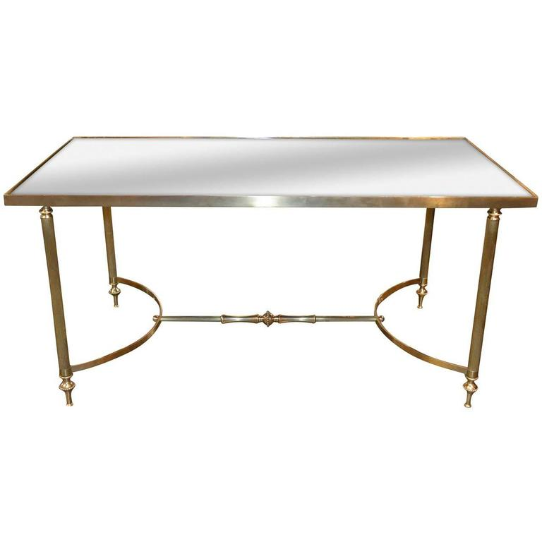 Midcentury Directoire Brass and Mirrored Top Coffee Table