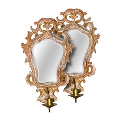 Pair of Italian Giltwood and Gesso Sconces