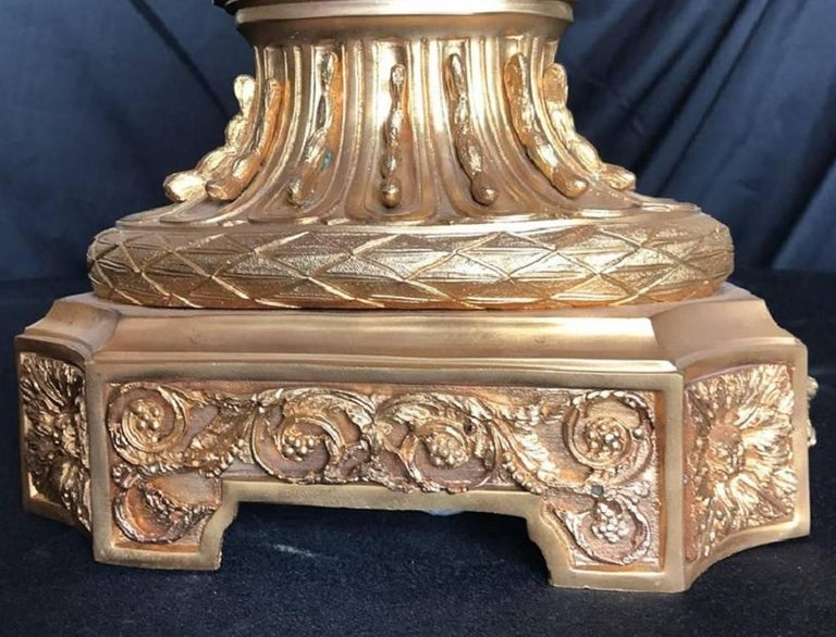 20th Century Vintage French Style Doré Bronze and Cranberry Colored Glass Centrepiece For Sale