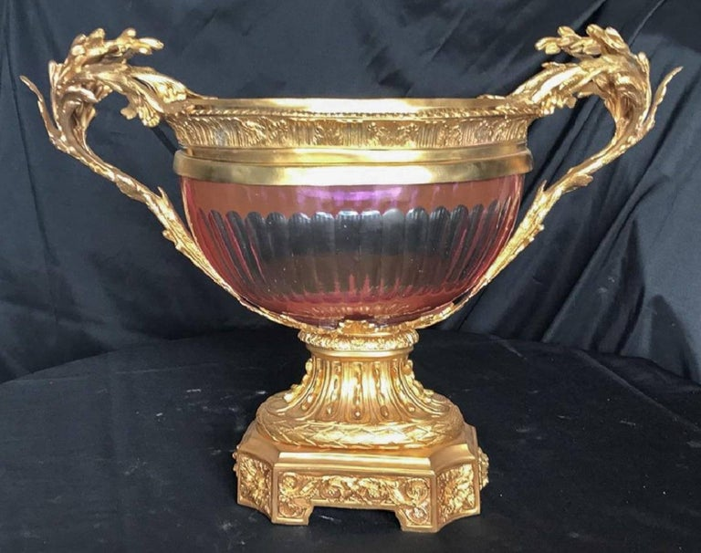 Vintage French Style Doré Bronze and Cranberry Colored Glass Centrepiece For Sale 1