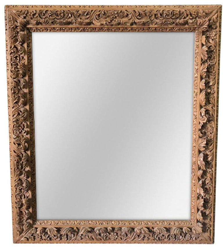 Hand-Carved Antique French Carved Pine Wall Mirror, circa 1890 For Sale