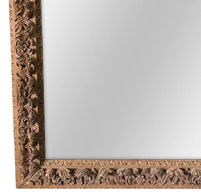 Antique French Carved Pine Wall Mirror, circa 1890 In Good Condition For Sale In Dallas, TX