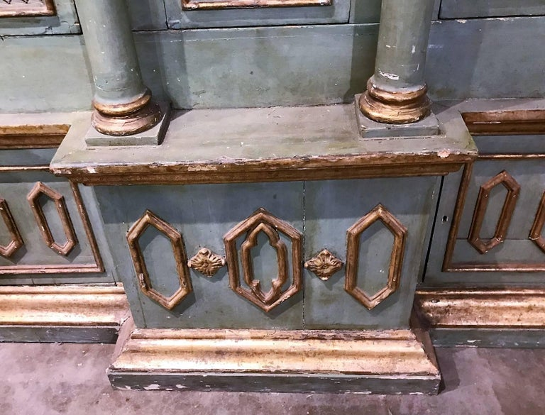 Late 19th Century Antique Italian Gothic Revival Cabinet Bookcase For Sale