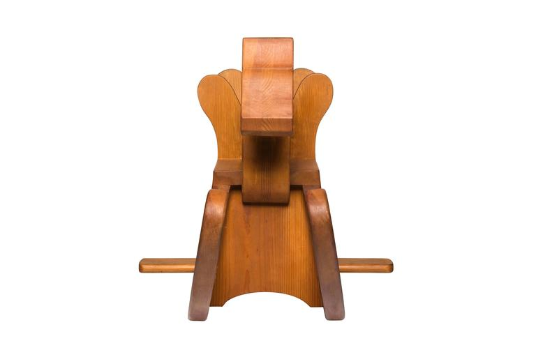 """The """"Rocking Horse"""" was created by Ralph Dorazio for his great nephew in the 1980s and retained by Chamber for inclusion in the Progressland collection. The  sculptor was motivated by childhood lore and the practice of woodworking, which he divided"""