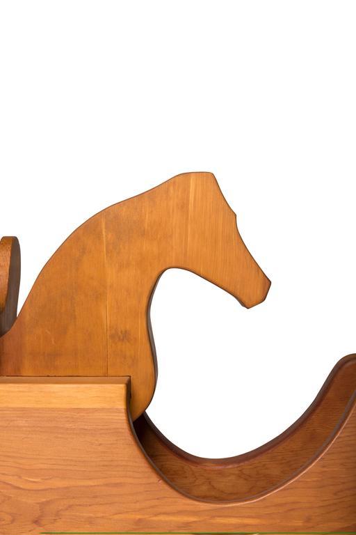American Ralph Dorazio Wood Rocking Horse, 1980s For Sale