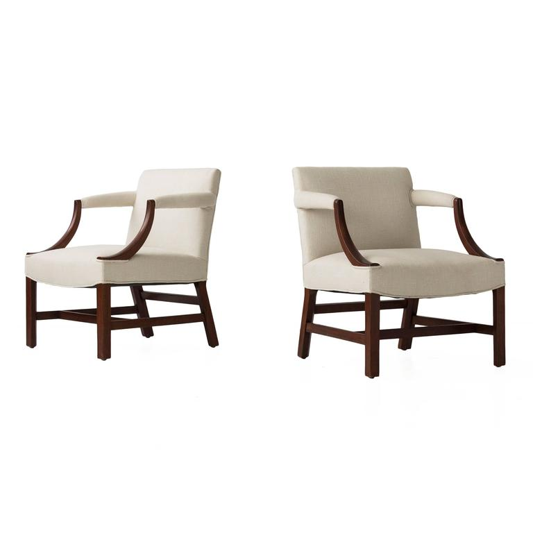 Mahogany Library Armchairs in the Style of Edward Wormley 2