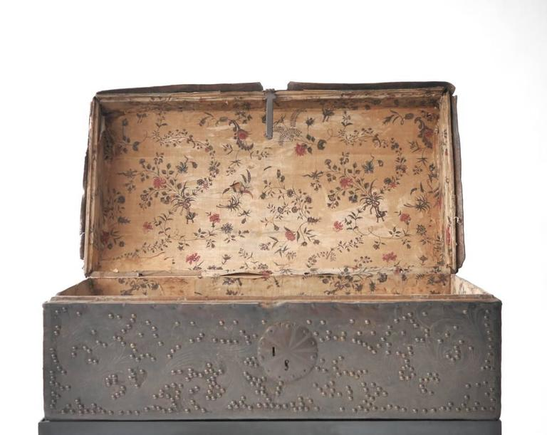 Etched Spanish Colonial Leather Trunk For Sale