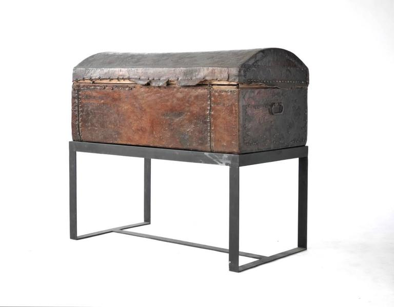 Iron Spanish Colonial Leather Trunk For Sale