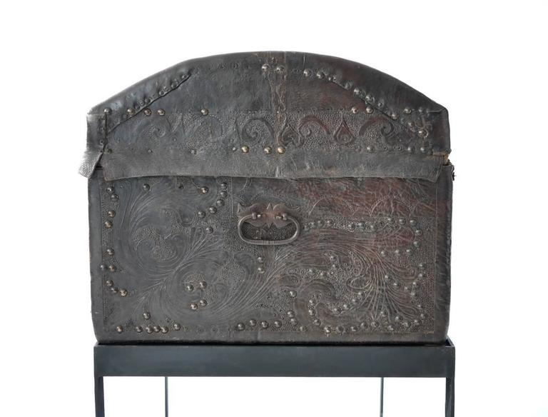 Spanish Colonial Leather Trunk For Sale 1