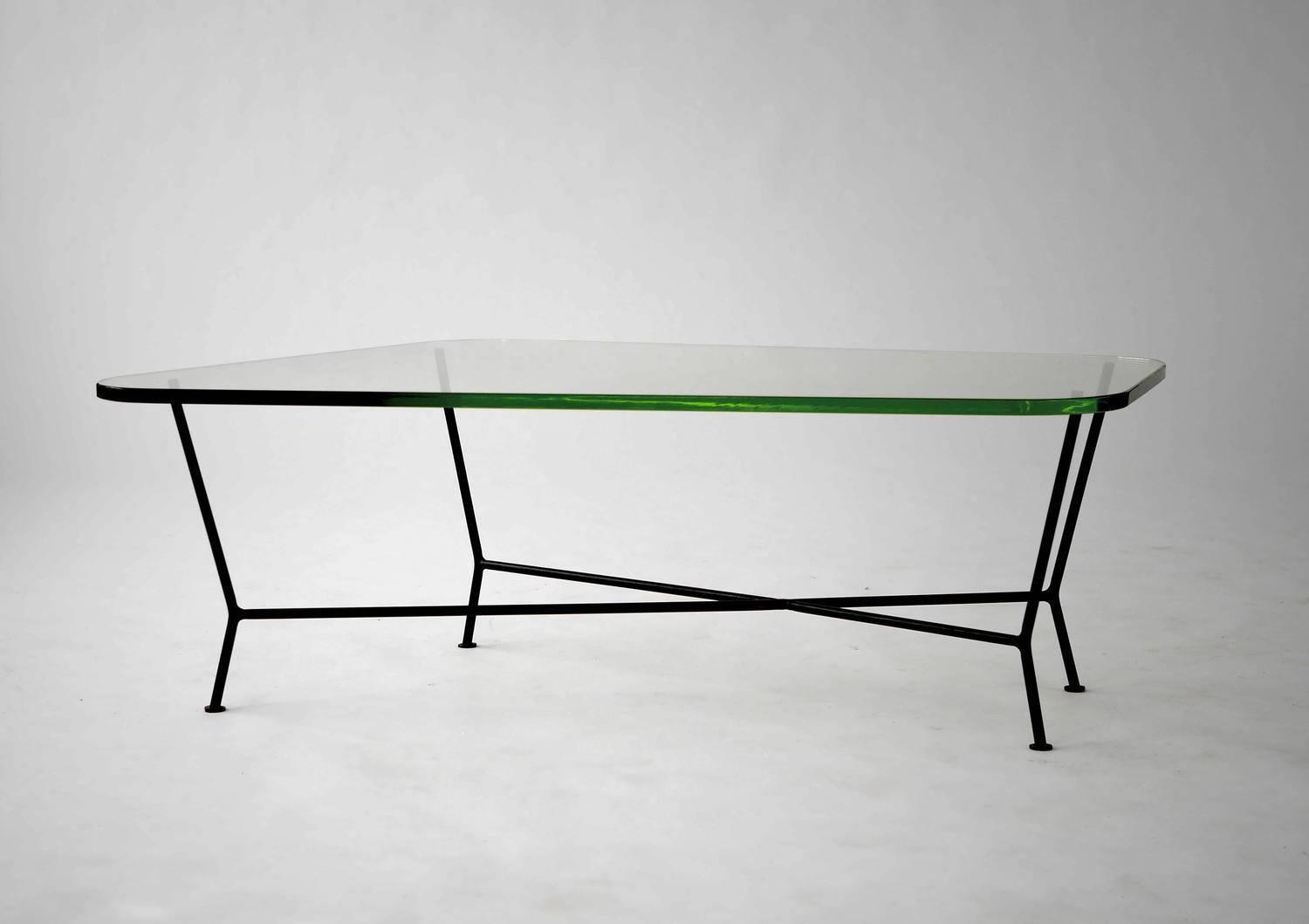 Unique Green Glass And Wrought Iron Coffee Table For Sale