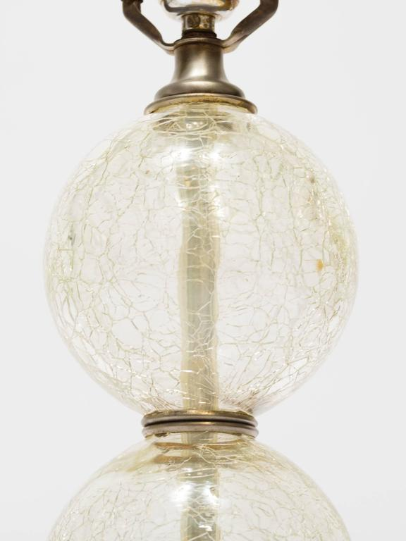 Good Pair Of 1950s Crackle Glass Ball Lamps In Fair Condition For Sale In  Tarrytown, NY