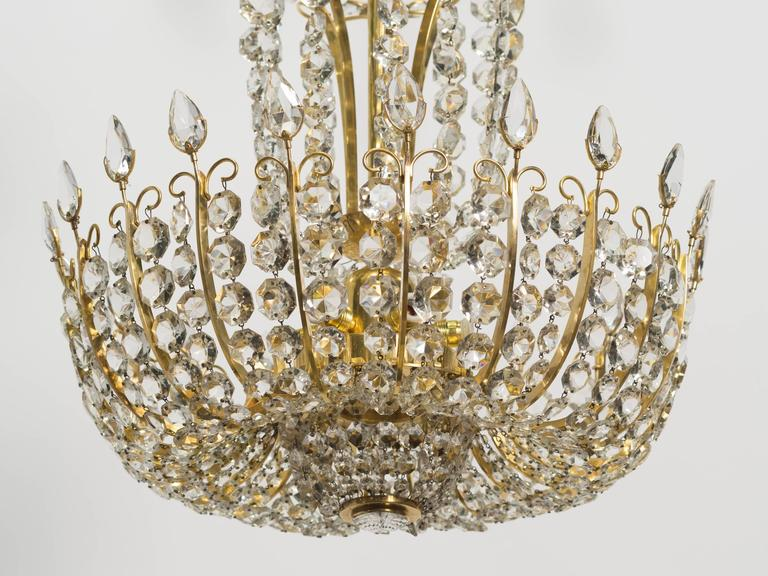 Pair of Elegant Crystal and Brass Chandeliers By Lobmeyr In Excellent Condition For Sale In Tarrytown, NY