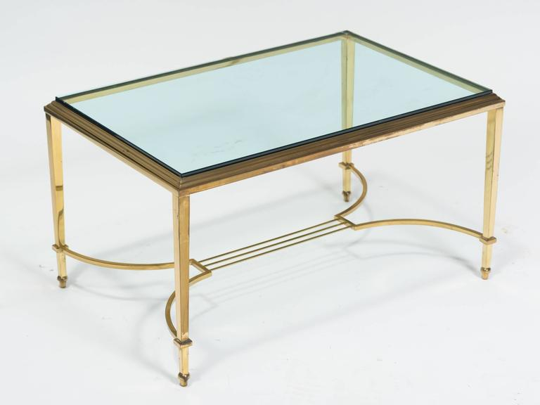 Brass and Glass Table Cocktail Table For Sale 1
