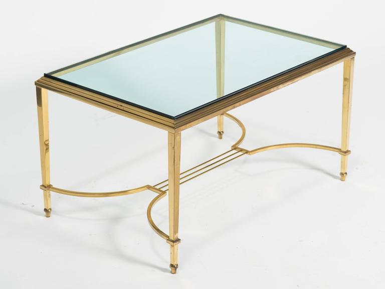 Brass and Glass Table Cocktail Table For Sale 2