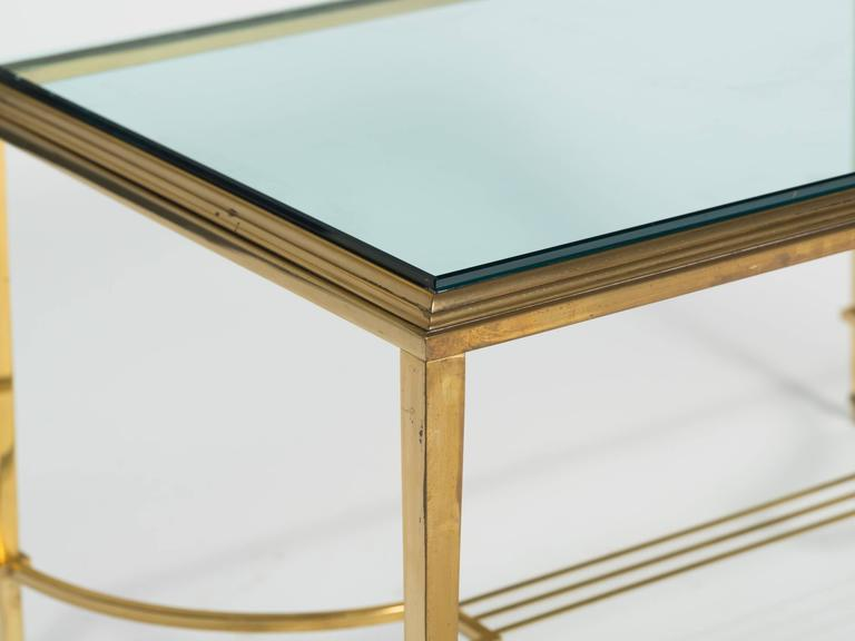 Brass and Glass Table Cocktail Table For Sale 3