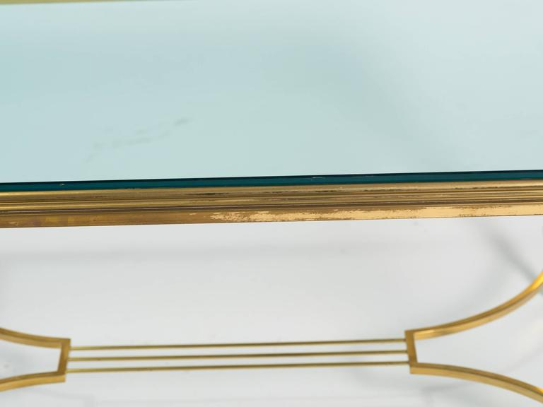 Brass and Glass Table Cocktail Table For Sale 4