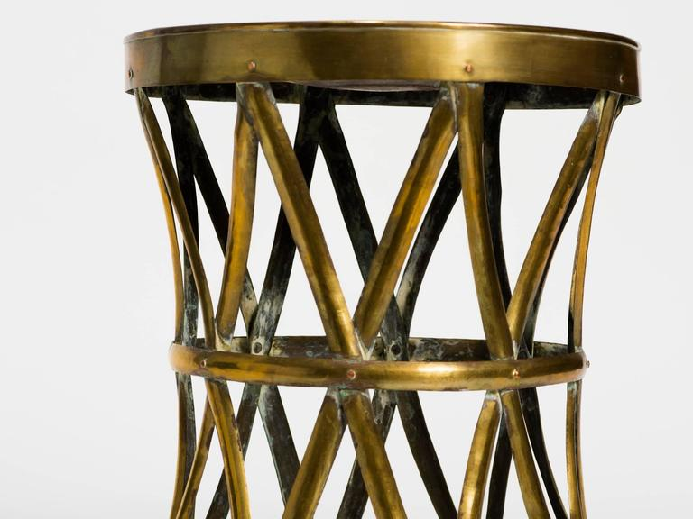 Vintage Brass Drum Stool Table At 1stdibs