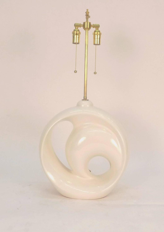 large single off white ceramic table lamp for sale at 1stdibs. Black Bedroom Furniture Sets. Home Design Ideas
