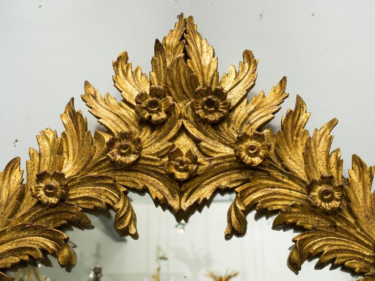 1960s Italian Carved Wood Floral Gilt Mirror. Pair available. For Sale 2