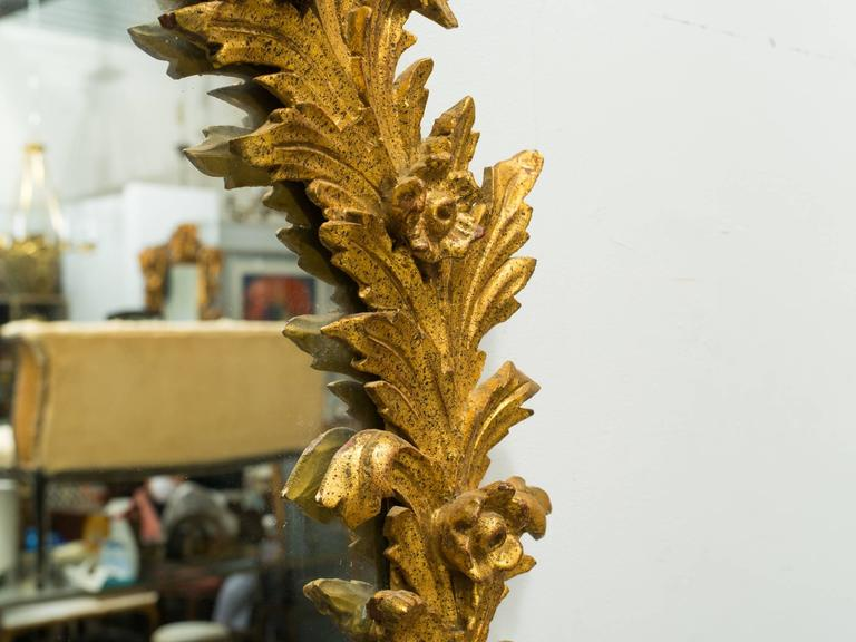 1960s Italian Carved Wood Floral Gilt Mirror. Pair available. For Sale 3