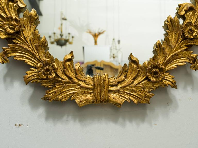 1960s Italian Carved Wood Floral Gilt Mirror. Pair available. For Sale 4