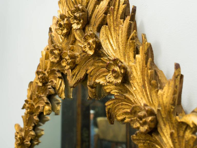 1960s Italian Carved Wood Floral Gilt Mirror. Pair available. For Sale 5