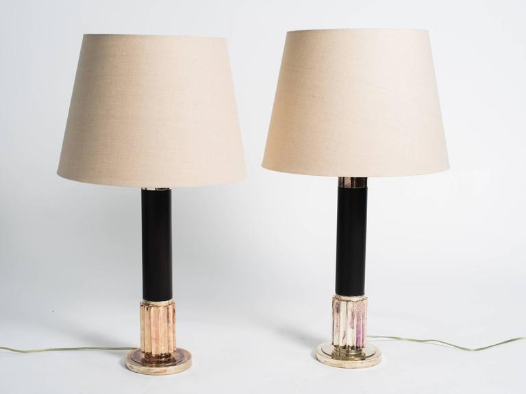 Deco style wood and silver plate Ralph Lauren lamps, with shades.