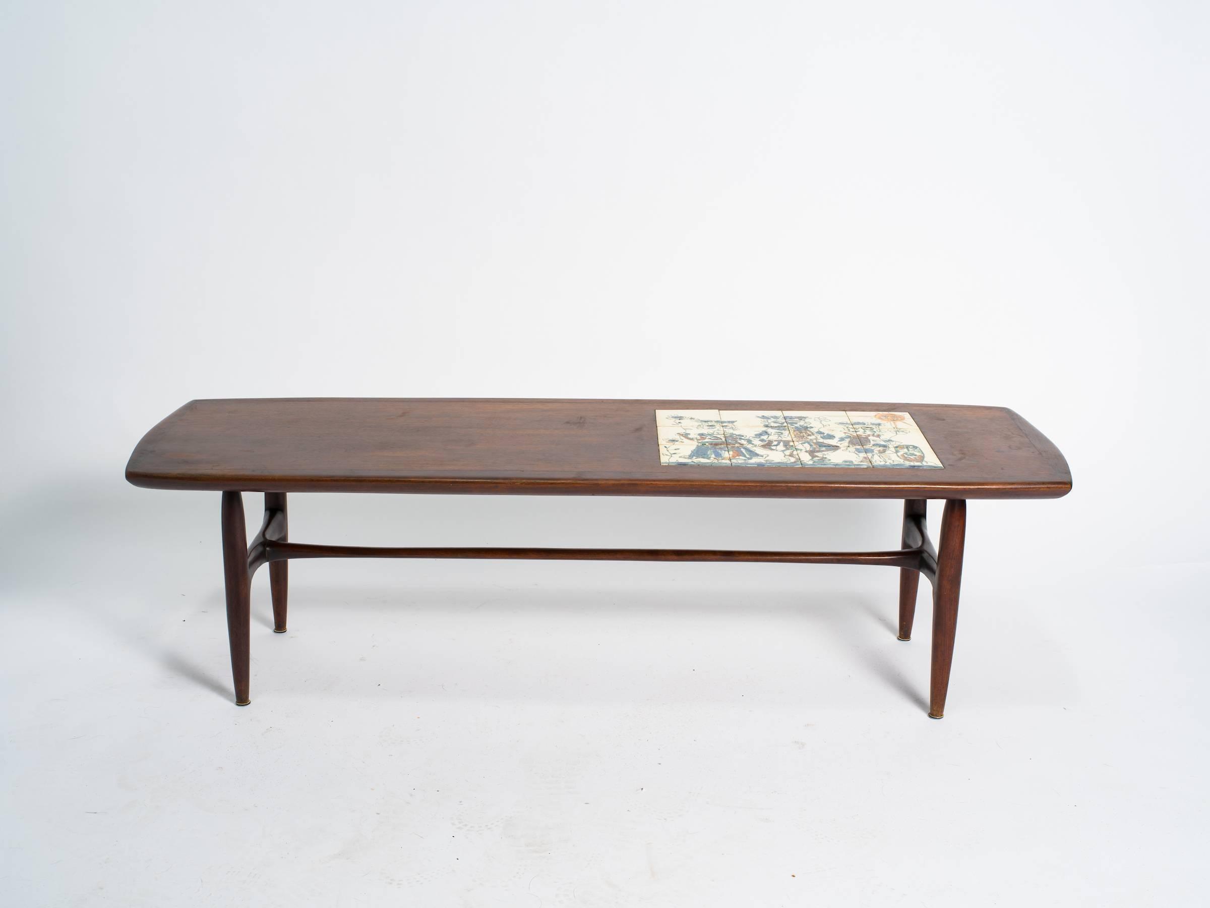 Alvin Hollingsworth Tile Top Teak Coffee Table At 1stdibs