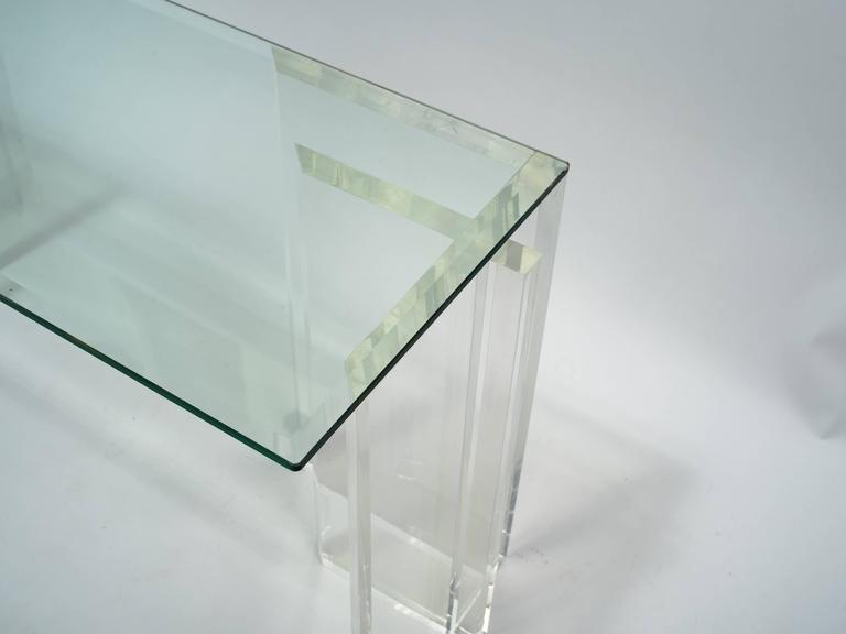 Lucite Console with Beveled Glass Top 2