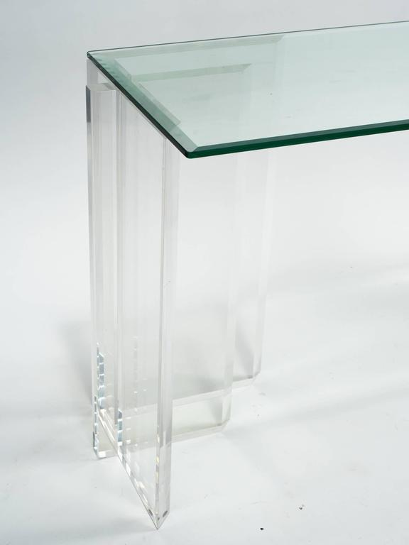 Lucite Console with Beveled Glass Top 3