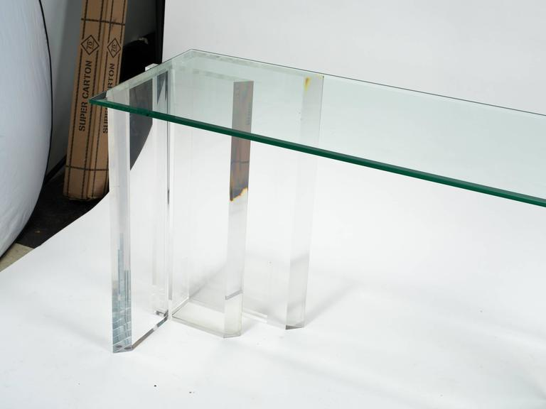 Lucite Console with Beveled Glass Top 4