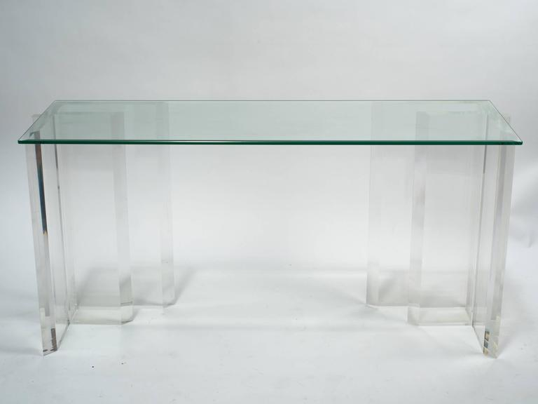 Lucite Console with Beveled Glass Top 5