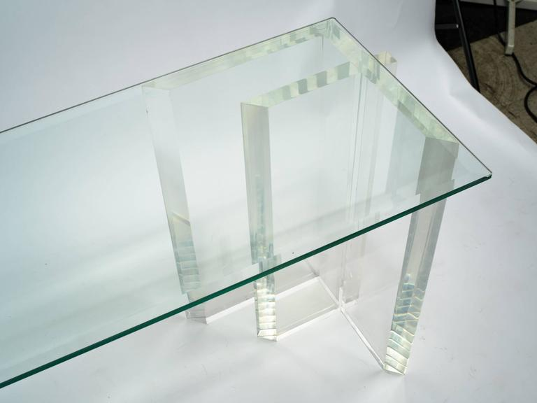 Lucite Console with Beveled Glass Top 6