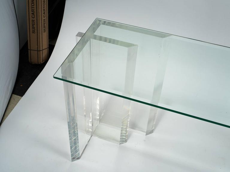 Lucite Console with Beveled Glass Top 7