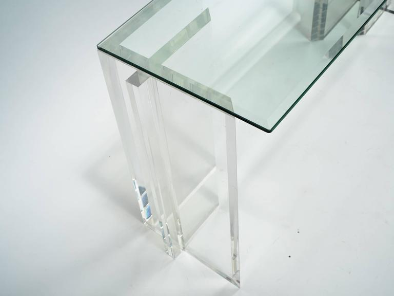 Lucite Console with Beveled Glass Top 9