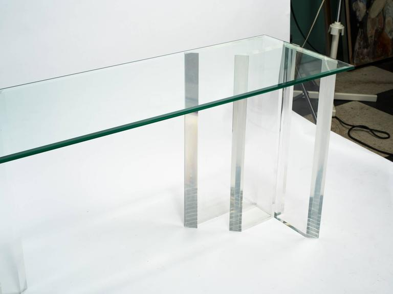 Lucite Console with Beveled Glass Top 8