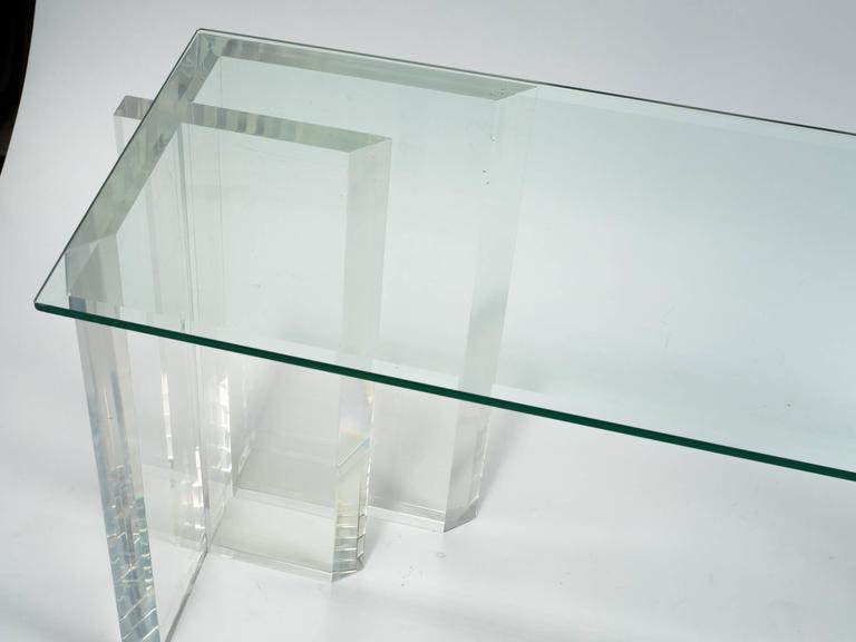 Lucite Console with Beveled Glass Top 10