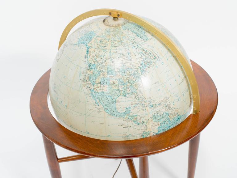 Late 20th Century Replogle Illuminated Globe on Stand