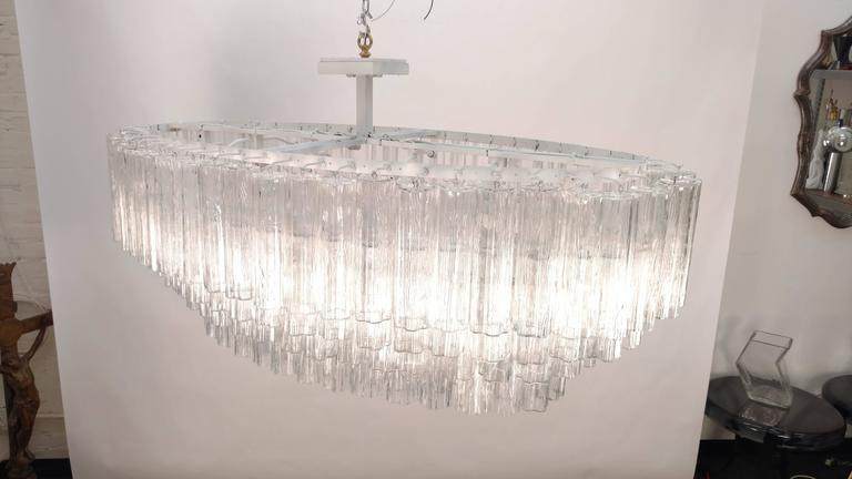 Italian Mid-Century Venini Tronchi Glass Chandelier For Sale
