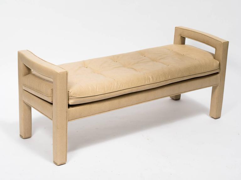 Custom faux ostrich 1970s bench.