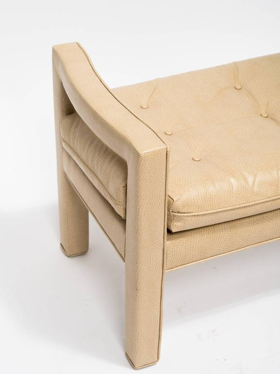 Custom Faux Ostrich 1970s Bench In Good Condition For Sale In Tarrytown, NY