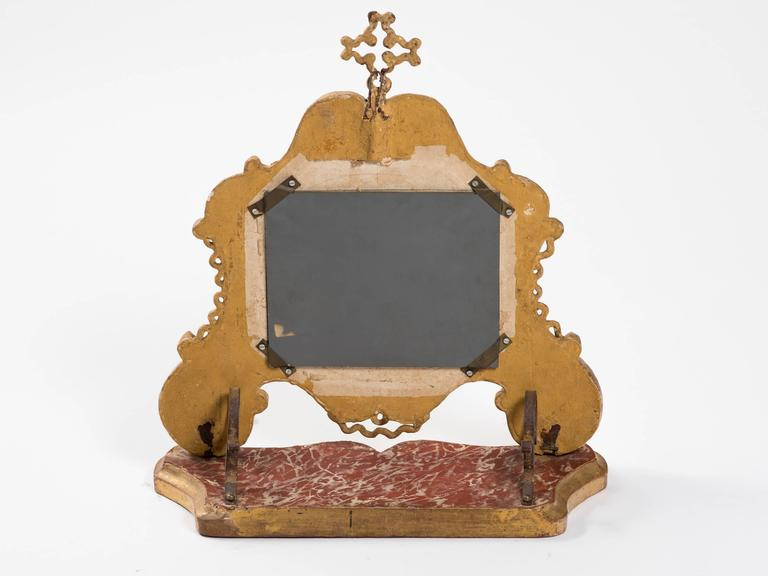 19th Century Giltwood Italian Vanity Mirror In Good Condition For Sale In Tarrytown, NY
